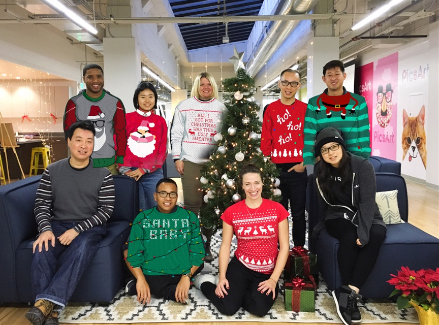 Happy Holidays from the PicsArt team! Looking fly in #uglysweaters. Currently in the shop! #freetoedit