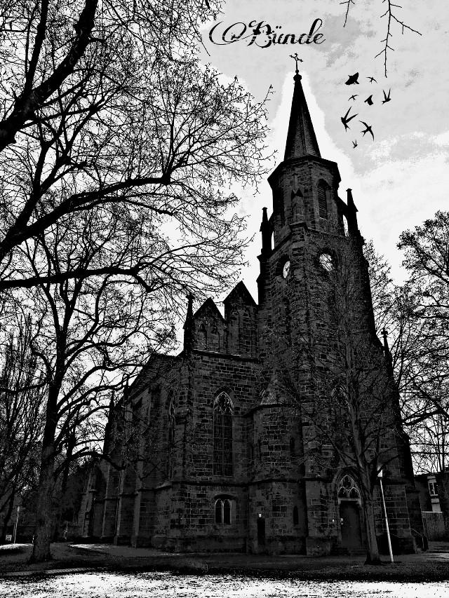#kirche #gebäude #schwarzweiß #bäume