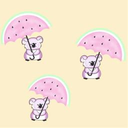 watermelon umbrellas cutout koala pastelcolors freetoedit