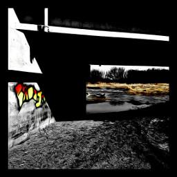 bridge graffiti river colorsplash oilpainteffect