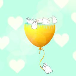 freetoedit cute rabits colorful hearts
