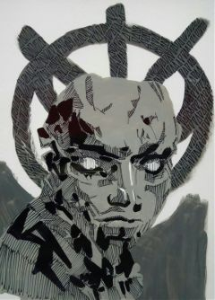drawing acrylic ink theprometeus cyberpunk